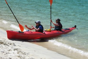 Kayakers join for lunch at Bark Bay